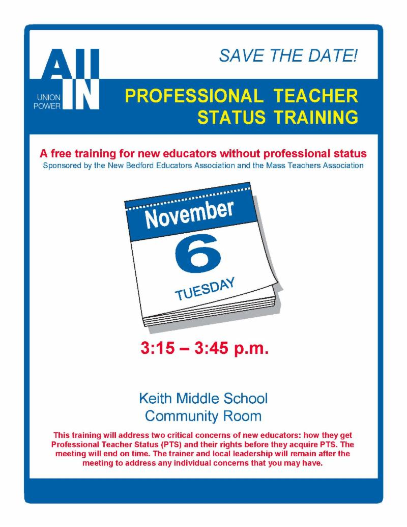 Keith PTS Training 11.6.2018 Save the Date
